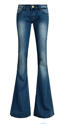 AvaCostume Women's Retro Slim Fit Bell-Bottom Wide Flared Jeans, Dark Blue 8