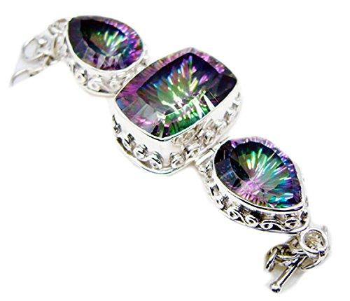Gemsonclick Mystic à quartz Argent sterling 925Pierre précieuse Bracelet Bijoux _ Gcb471