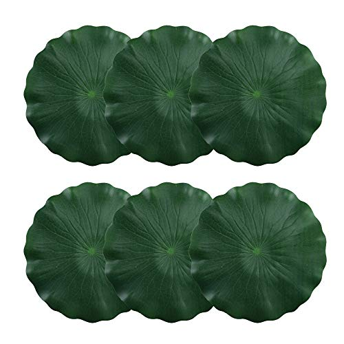 (HO2NLE Artificial Pond Plant Floating Lilies Pad Realistic Non-Toxic Water Mat for Home Garden Patio Koi Pond Aquarium Swimming Pool Bird Baths Wedding Party Decor (30cm Pack of 6))
