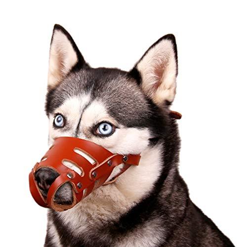 feiling Perros Maul Cesta Suave Completo Piel de Vacuno Anti de Maul Cestas Mordedor de Bell Entrenamiento Cesta Ajustable Dog Muzzle–Bark para Labrador Husky German Shepherd Dog