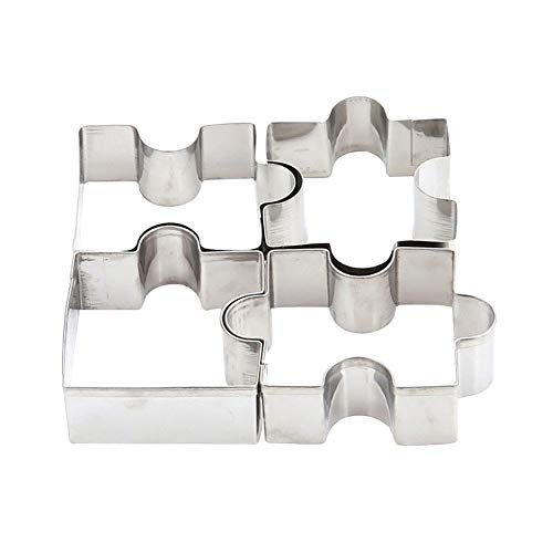 lightclub 4Pcs/Set Puzzle Shape Stainless Steel Biscuit Mold Cookie Cake DIY Mould Cutter For Christmas and Halloween 1 ()
