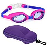 Kids Swim Goggles Swimming Goggles for Boys Girls Kid (Age 3-8) Child Colorful Swim Goggles Clear Vision Anti Fog UV Protection No Leak Soft Silicone Nose Bridge Protection Case Kids' Skoogles
