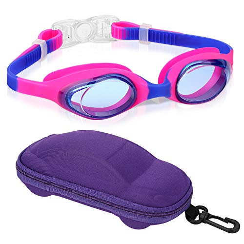 - Kids Swim Goggles Swimming Goggles for Boys Girls Kid (Age 3-8) Child Colorful Swim Goggles Clear Vision Anti Fog UV Protection No Leak Soft Silicone Nose Bridge Protection Case Kids' Skoogles