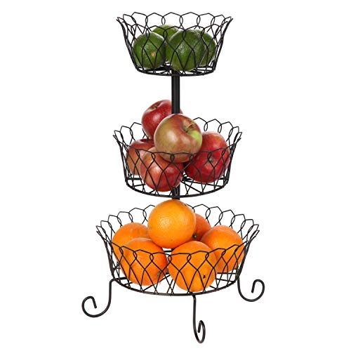 Trenton Gifts Three Tier Wire Basket | Black | Great For Fruits, Vegetable & ()