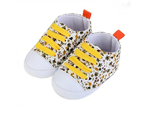 Tfxwerws Mode Imprimé fleurs pour bébé fille antidérapant sur toile Sneaker (Jaune)
