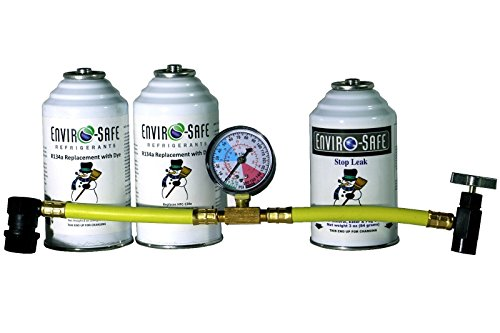 Enviro-Safe 1 Stop Leak and 2 R134a Replacement with Dye Kit with R134 Tap Gauge #RSG-4 (Replacement Safe Kit)
