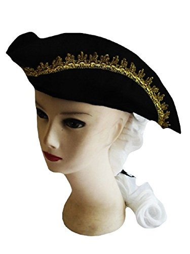 [Tricorne Tricorn Colonial Revolutionary Hat White Wig Child Black Gold Accessory] (Adult Colonial Tricorn Hat)