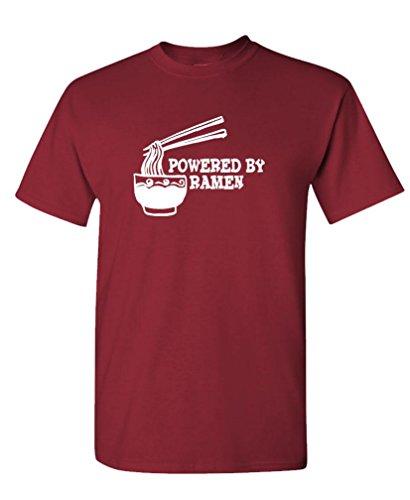 Powered by Ramen - Funny College Food Nerd Tee Shirt T-Shirt, L, Maroon