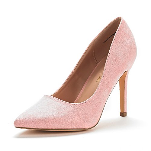 DREAM PAIRS Women's Christian-New Pink Suede High Heel Pump Shoes - 9.5 M US