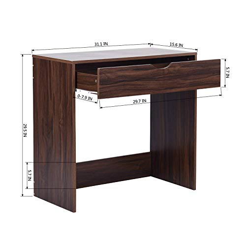 Computer Writing Desk with 1 Storage Drawer Wooden Study Table Desk for Home Office, Walnut Brown TAR012 by Coavas (Image #6)