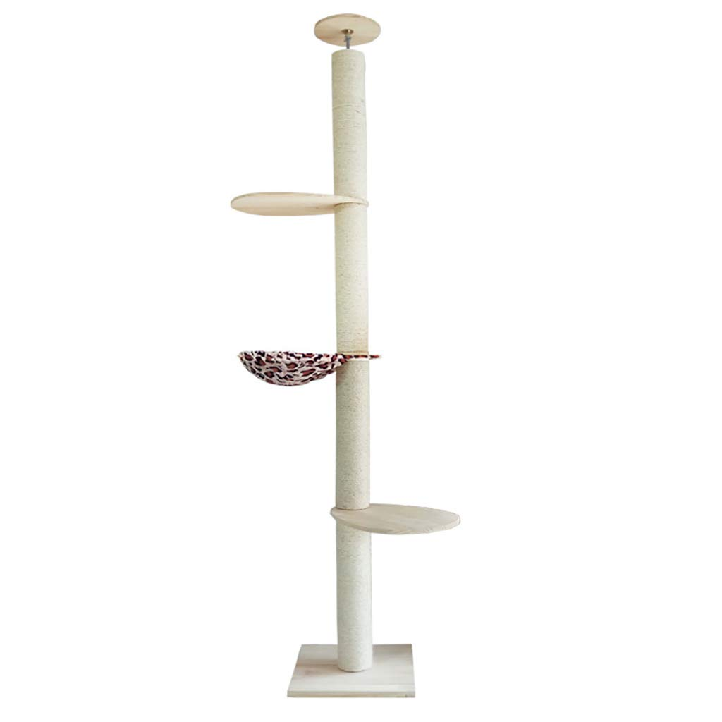 A QAHMPJ Ceiling Cat Tree, Pine Structure, Sisal Rope Wrapped (Size   A)