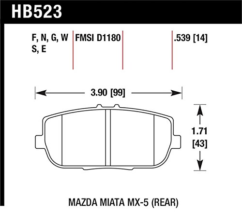 Hawk 06-11 Mazda Miata Mx-5 Rear Dtc-60 Race Brake Pads By J