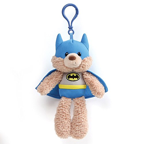 "Gund DC Universe Fuzzy Bear Batman Plush Backpack Clip, 6.5"", Tan from GUND"