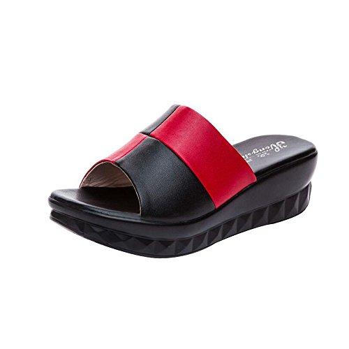 de et Talon Black Une la Forme Red à en de à Mère Wedge épais Fond Pantoufles mi Sandales q8xAXPw