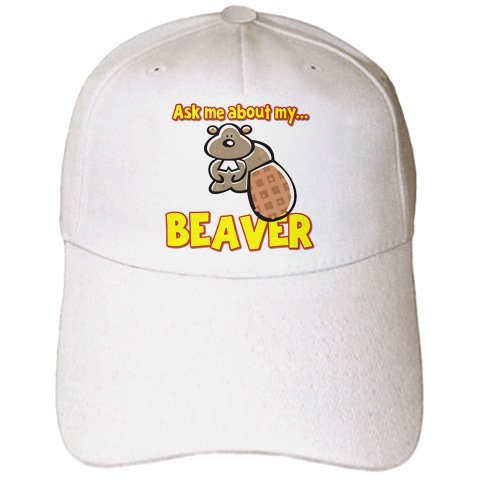 Dooni Designs Random Humor Designs - Funny Ask Me About My Beaver Humor Design - Caps - Adult Baseball Cap (cap_160897_1) (Beaver Top Hat)