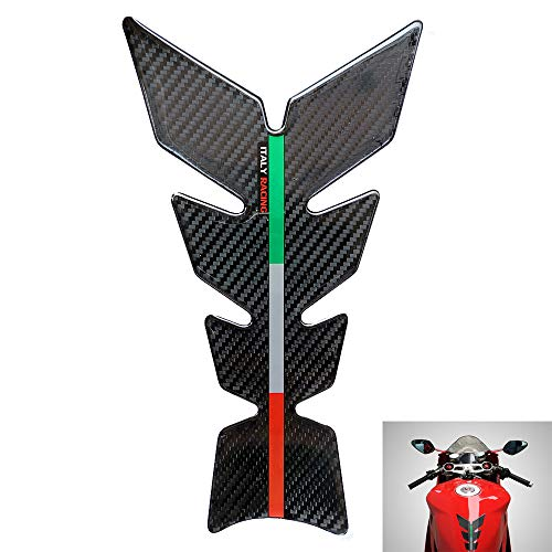 3D Carbon Look Motorcycle Tank Pad Protector Italy Racing Fuel Tank Decals Resin