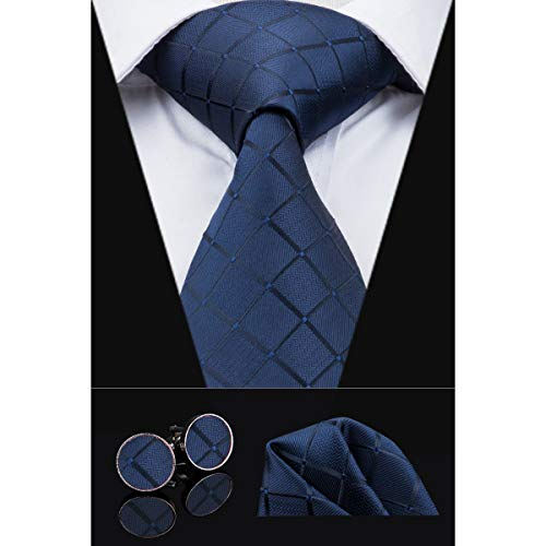 Dubulle Solid Mens Navy Plaid Necktie with Cufflinks Tie and Pocket Square ()