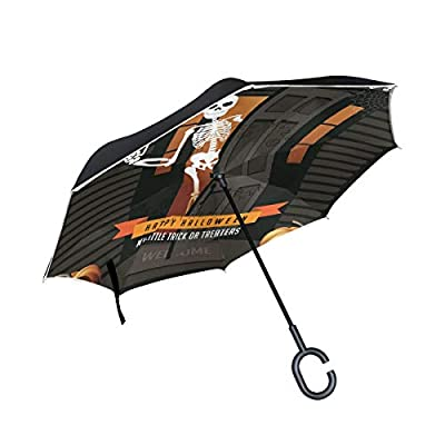 OREZI Halloween House Jack Reverse Umbrella Large Double Layer C-Shaped Handle Folding Umbrella Windproof UV Protection Golf Umbrella for Woman and Men