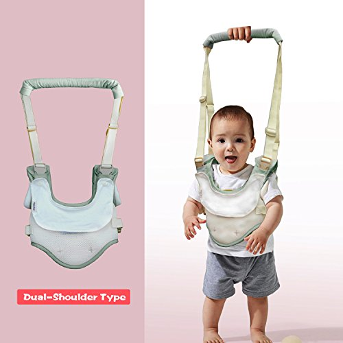 Dual Use Handheld Baby Walker,Safe Breathable Adjustable Baby Toddler Assistant Walking Harness for 8-15 Months Baby (Green) by Tanke (Image #4)