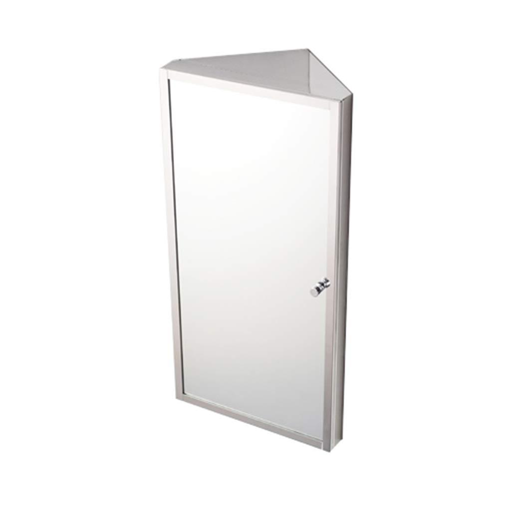 Color : Silver, Size : L Armadietti a specchio Triangolare Bagno in Acciaio Inox Armadietto per Il Bagno Mobile