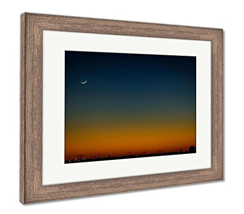 Ashley Framed Prints North Houston Texas Sunset And Moonrise With Power Line Silhouette, Wall Art Home Decoration, Color, 30x35 (frame size), Rustic Barn Wood Frame, (Cresent Silhouette)