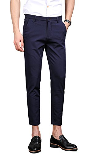 Plaid&Plain Men's Stretch Skinny Fit Casual Business Pants Ankle Dress Pants Navy 32 - Skinny Stretch Pants