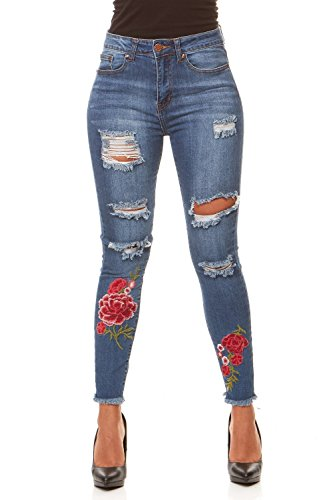 V.I.P. JEANS Women's Ripped and Distressed High Waisted Slim Fit Skinny Stretchy Jeans With Flower Embroidery, Medium Blue, (Waisted Fashion Belt)