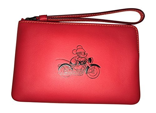Coach X Disney Limited Edition Leather Corner Zip Wristlet, Red, Mickey on Motorcycle by Coach