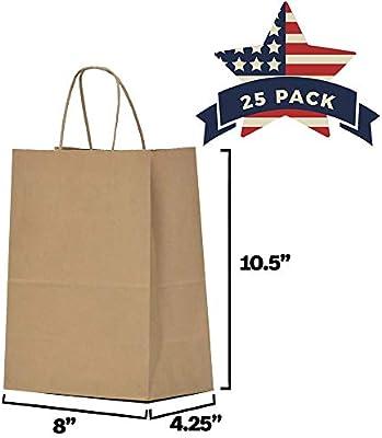 "Gift Bags 8x4.75x10.5/"" 25Pcs Black Shopping Bags Paper Kraft Retail with Handles"