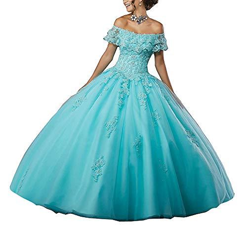 Robes Tulle Princesse Bleu Bal Dentelle De Jaeden Quinceanera Mariée Longue p8wdqBqx7T