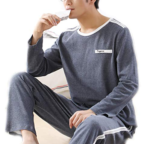 Scennek Men's Long-Sleeved Cotton Pajamas Winter Sleepwear Autumn Thin Cozy Warm Middle-Aged -