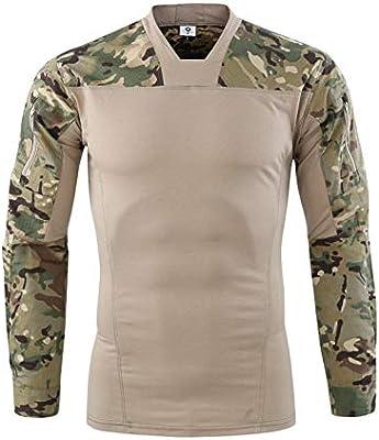 Specter Hombres Táctico Camiseta Militar Airsoft Combate Camisa Largo Manga Secado Rápido Algodón con puños Ajustables,Verde,L: Amazon.es: Deportes y aire libre