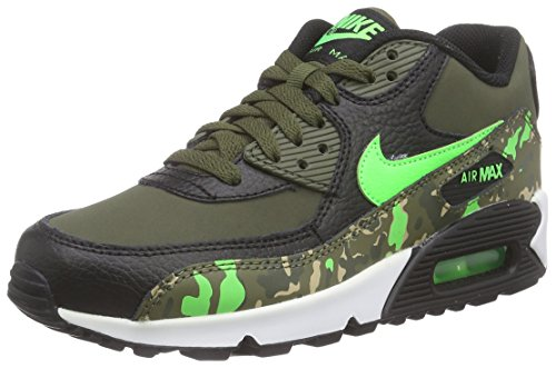 Nike Kid's Air Max 90 PREM LTR GS, BLACK/GREEN STRIKE-CRG KHAKI-MDM OLIVE, Youth Size 6