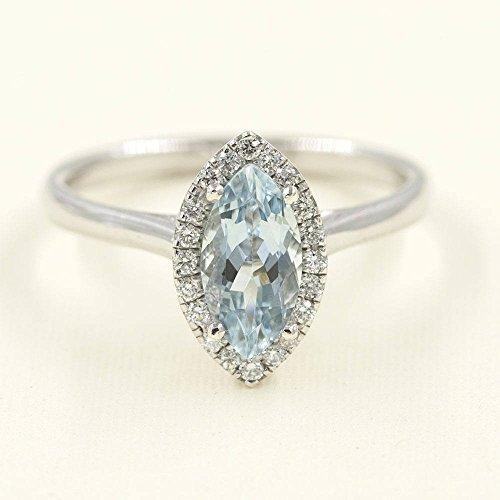 10x5 AAA Marquise Aquamarine Engagement Ring/Aquamarine Engagement Ring/0.17 ct High Quality Diamonds/Aquamarine Diamond Engagement ()