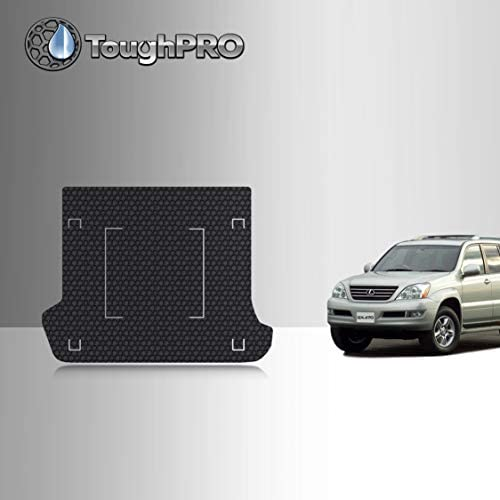 TOUGHPRO Cargo/Trunk Mat Accessories Compatible with Lexus GX470 – with Rail Cutouts – All Weather – Heavy Duty – (Made in USA) – Black Rubber – 2003, 2004, 2005, 2006, 2007, 2008, 2009