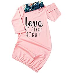 Newborn Baby Girl Love at First Sigth Floral Nightgowns Headband Sleepwear Sleeping Bag (Pink, 0-6 Months)