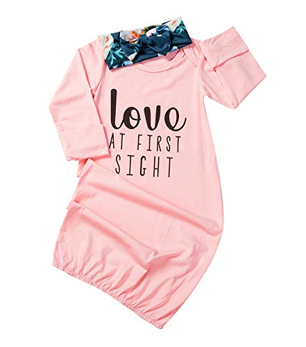 Newborn Baby Girl Love at First Sigth Floral Nightgowns for sale  Delivered anywhere in USA