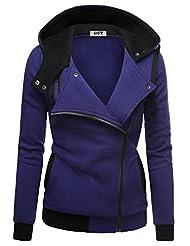 DJT Women's Casual Oblique Zip-up Hoodie Jacket Coat