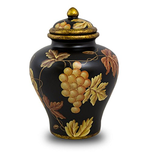 OneWorld Memorials Vineyard Calm Ceramic Cremation Urn - Large - Holds Up to 150 Cubic Inches of Ashes - Black Ceramic Urns - Engraving Sold Separately