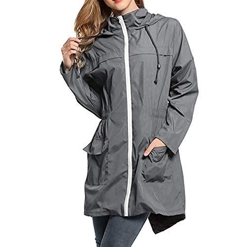 Outerwear Casual Sleeve Coat Women Zipper Pockets Long Outerwear Hooded Gray Auspiciousi Jacket Coat Waterproof qAw1St