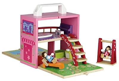 Diggin Box Portable Wooden Dollhouse Set by Diggin