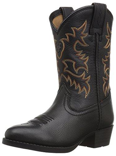 Kids' Heritage Western Boot, Black Deer Tan, 6 M US Big Kid