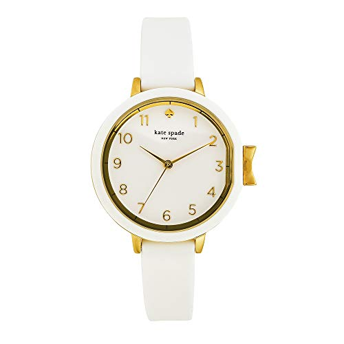 kate spade new york Women's Park Row Stainless Steel Quartz Watch with Silicone Strap, White, 12.25 (Model: - White Wrist Gold Watch Plated