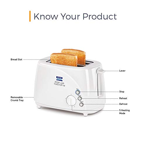 KENT 850-Watt 2-Slice Pop-up Toaster (White)