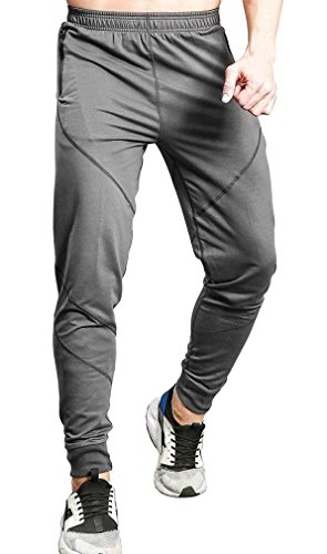TBMPOY Men's Casual Cotton Jogger Pants Elastic Waist Running Sports Trousers(Dark Grey,us M)