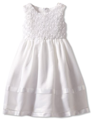Jayne Copeland Little Girls' Floral Soutache Top With Organza Overlay Skirt, White, 4