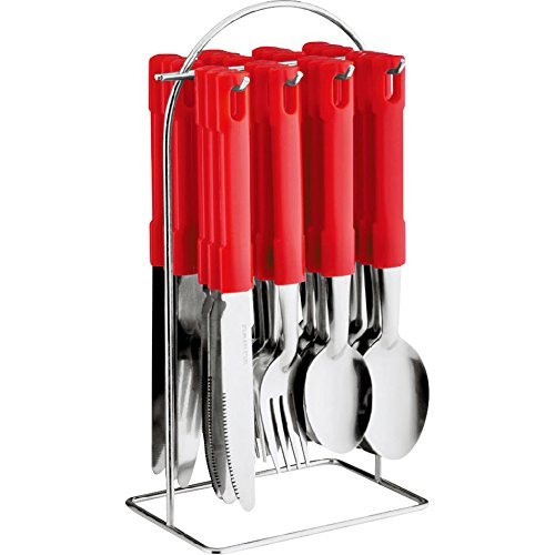 24 PC CUTLERY SET HIGH QUALITY STAINLESS STEEL WITH TRAY/STAND (Red with Stand) DNY©