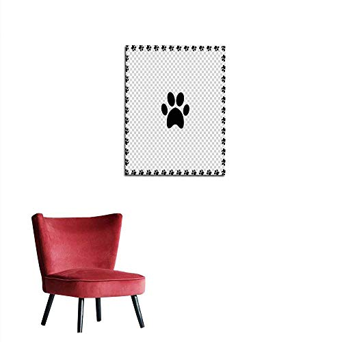 longbuyer Wallpaper Black Animal s paw Print icon Framed with Paws Mural 32