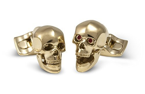 (Deakin and Francis Yellow Gold Plated Skull Cufflinks)