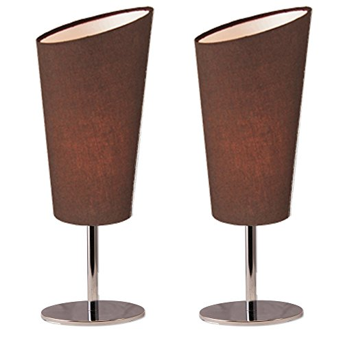Chrome Modern Coffee Table - Lightaccents Table Lamp Set Chrome Base with Fabric Modern Coffee Color Shades (Set of 2)